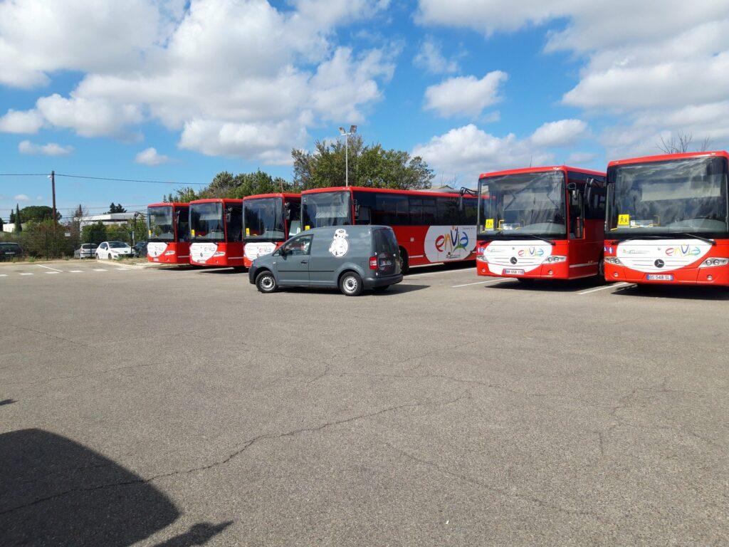 Intevention sur les bus de la compagnie TRANSDEV à Arles