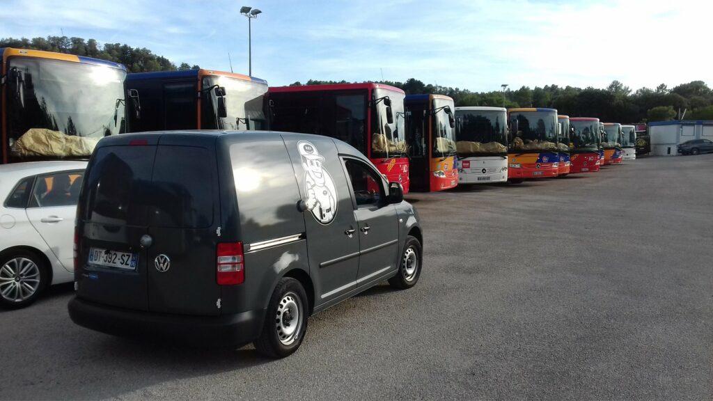 Intevention sur les bus de la compangnie Autocars PONS à Bedarieux